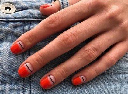 Model nou de unghii cu gel roșii minimaliste